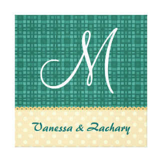 Green and Gold Modern Bride and Groom Monogram A05 Stretched Canvas Prints