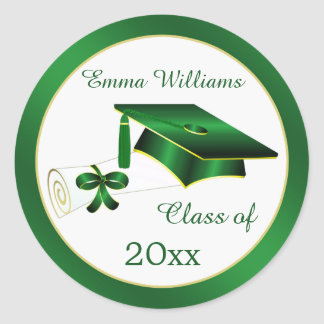 Green and gold Mortar, diploma Graduation Postage Classic Round Sticker