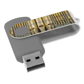 Green and gold organ pipes USB flash drive