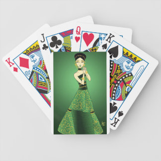 Green and Gold Princess Bicycle Playing Cards