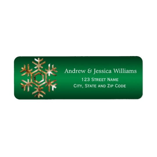 Green and Gold Snowflake Address Labels