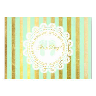 Green and Gold Striped boy Baby Shower Invitation