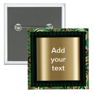 Green and Gold Swirly Pattern | DIY Text 15 Cm Square Badge