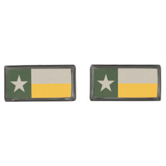 Green and Gold Texas Flag Burlap Gunmetal Finish Cufflinks