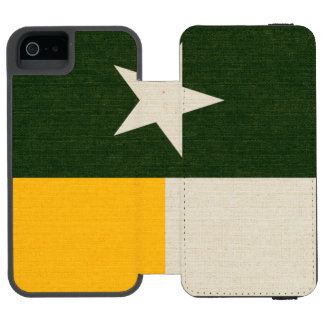Green and Gold Texas Flag on Fabric Incipio Watson™ iPhone 5 Wallet Case