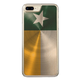 Green and Gold Texas Flag Radial Brushed Carved iPhone 7 Plus Case