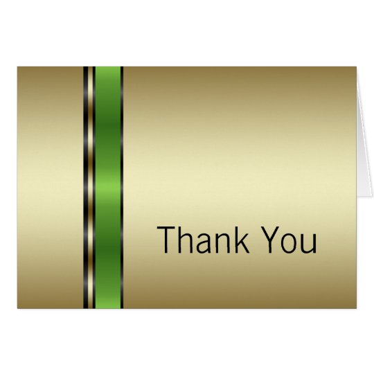 Green and Gold Thank You Cards