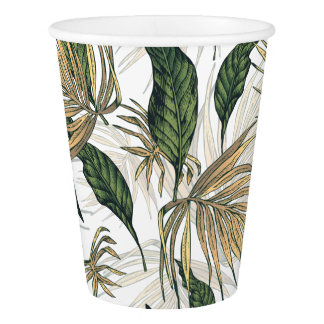 Green and Gold  Tropical Leaves Paper Cup