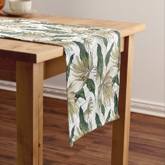 Green and Gold  Tropical Leaves Short Table Runner