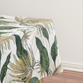 Green and Gold  Tropical Leaves Tablecloth