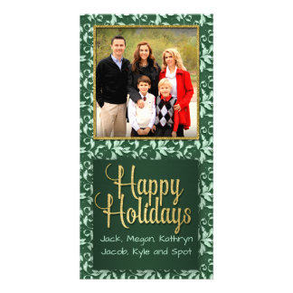 Green and Gold Vintage Holly Happy Holidays Picture Card