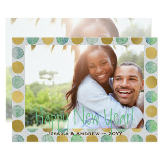 Green and Gold Watercolor Dots Happy New Year Card