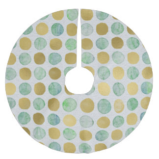 Green and Gold Watercolor Dots Tree Skirt