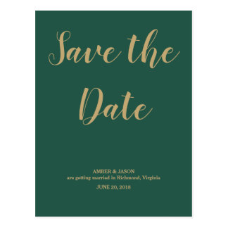 Green and Gold Wedding Save the Date Postcard