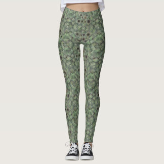 Green and Gray Basket Weave Leggings