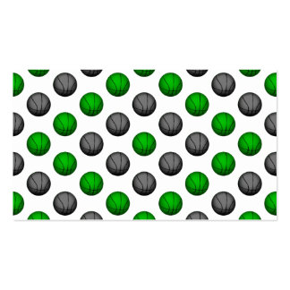 Green and Gray Basketball Pattern Business Card Templates