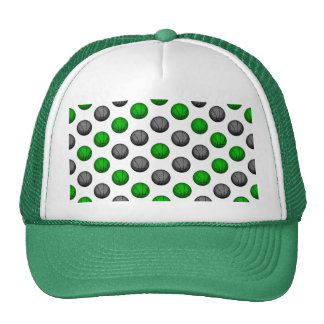 Green and Gray Basketball Pattern Hat