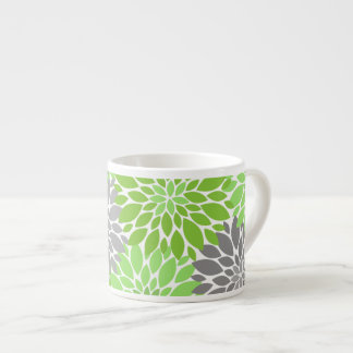 Green and Gray Chrysanthemums Floral Pattern Espresso Cup