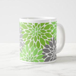 Green and Gray Chrysanthemums Floral Pattern Large Coffee Mug