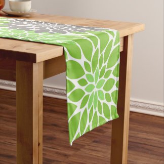 Green and Gray Chrysanthemums Floral Pattern Short Table Runner