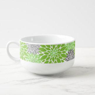 Green and Gray Chrysanthemums Floral Pattern Soup Mug