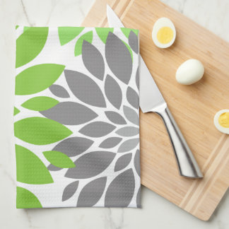Green and Gray Chrysanthemums Floral Pattern Tea Towel