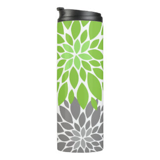 Green and Gray Chrysanthemums Floral Pattern Thermal Tumbler