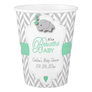 Green and Gray Elephant Baby Shower Paper Cup