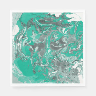 Green and gray Marble. Paper Napkins