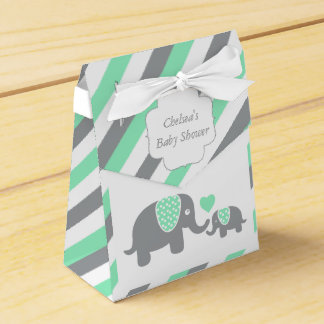 Green and Gray Stripe Elephant Favour Box