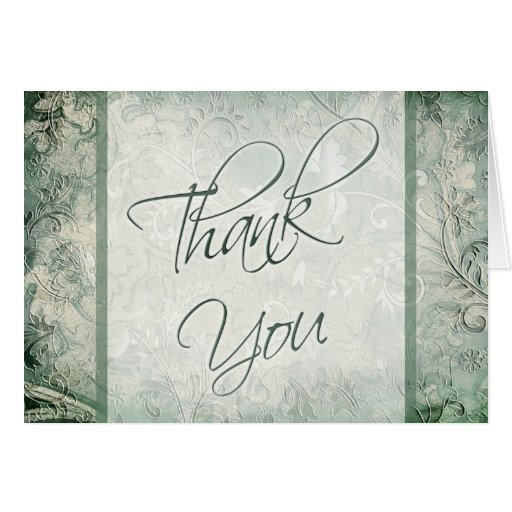 Green and Ivory Floral Thank You Card Cards