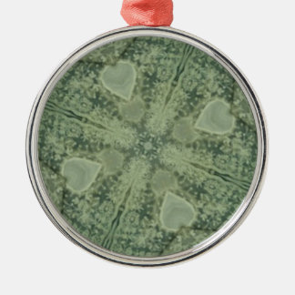 Green and Ivory Lace Silver-Colored Round Decoration