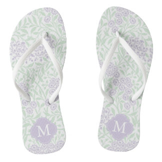Green and Lavender Floral Damask Monogrammed Thongs