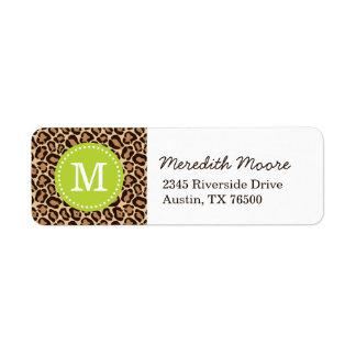 Green and Leopard Print Custom Monogram Return Address Label