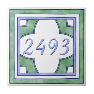 Green and Light Blue Small House Number Small Square Tile