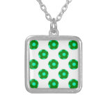 Green and Light Blue Soccer Ball Pattern Personalised Necklace