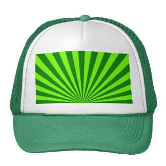 Green and Lime Funky Striped Abstract Art Cap