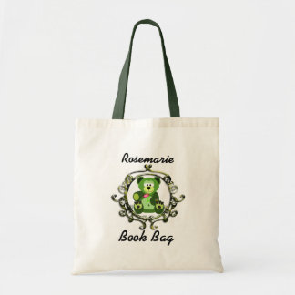 Green and lime teddy bear with a abstract frame budget tote bag