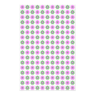 Green and magenta flowers stationery