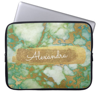Green and Marble with Gold Foil and Glitter Laptop Sleeve