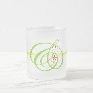 Green and mark leaf frost glass mug