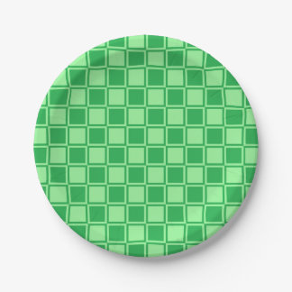 Green and Mint Green Outlined Squares Paper Plate
