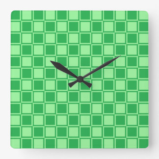 Green and Mint Green Outlined Squares Square Wall Clock