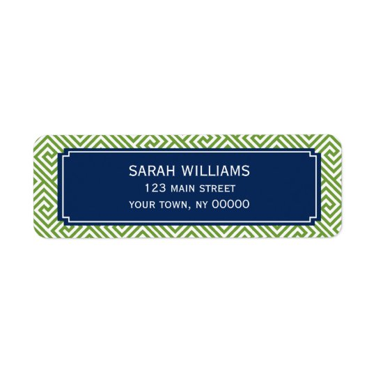 Green and Navy Blue Greek Key Pattern Return Address Label