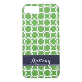Green and Navy Preppy Links Monogram iPhone 8/7 Case