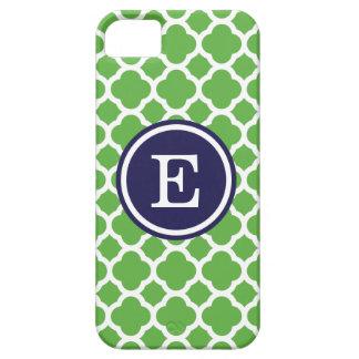 Green and Navy Quatrefoil Custom Monogram iPhone 5 Cases