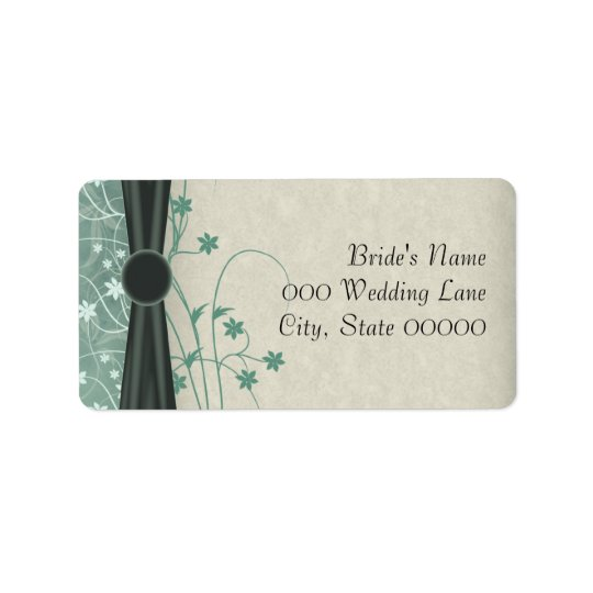 Green and Off White Wedding Address Labels