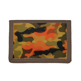 Green and Orange Camoflauge Tri-fold Wallets