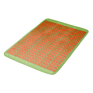 GREEN AND ORANGE CIRCLES BATH MAT BATH MATS