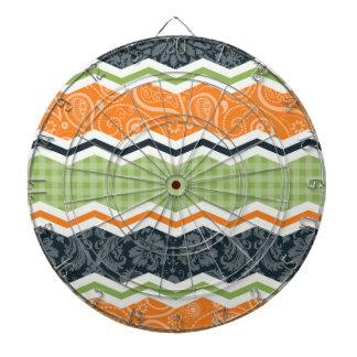 Green and Orange Country Chevron Stripes Dart Board